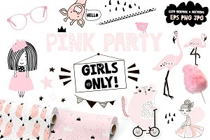 PINK party. GIRLS ONLY!graphic set