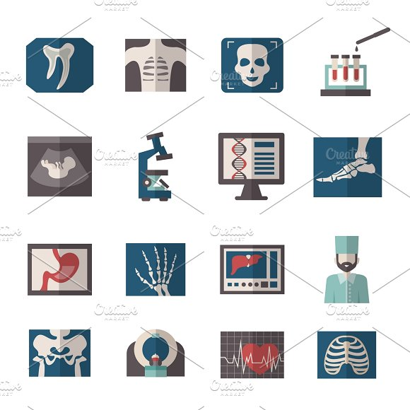 Medical Ultrasound And X-ray Icons