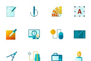Graphic design drawing tools icons