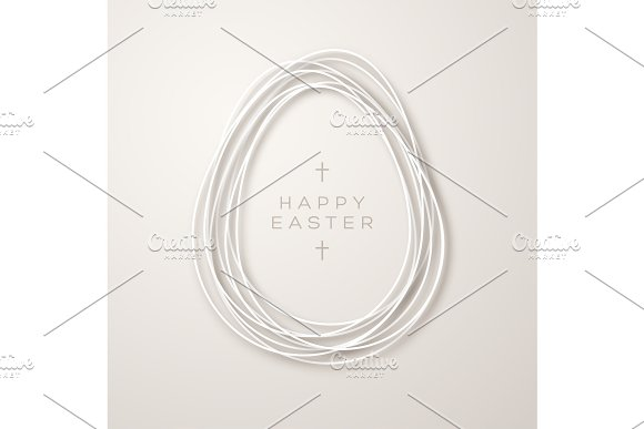 Simple ribbon egg shape frame