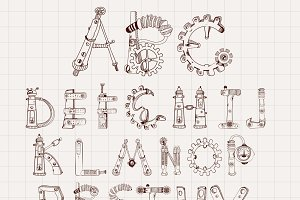 Mechanical alphabet set