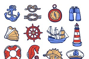 Nautical sketch decorative icon set