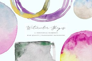 Watercolor Frames - Splotches, Brush