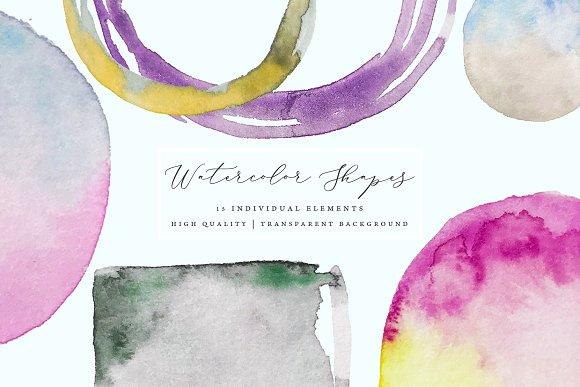 Watercolor Frames Splotches Brush