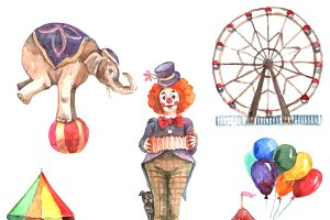 Watercolor circus icons set