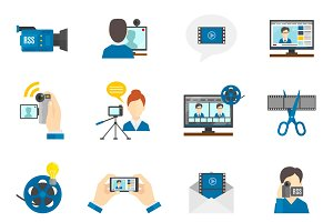 Social media and video blog icons