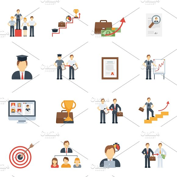 Business Career Icons Flat Set