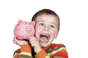 Child with a money box