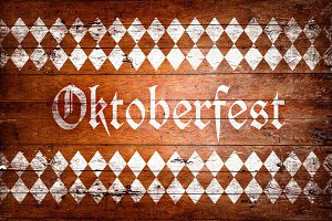 Oktoberfest sign with brown and white rhombus pattern