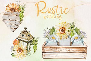 Watercolor Rustic Wedding Clipart