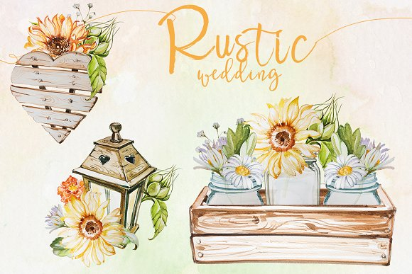Watercolor Rustic Wedding Clipart
