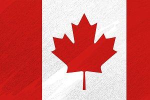 Canada flag on brush background