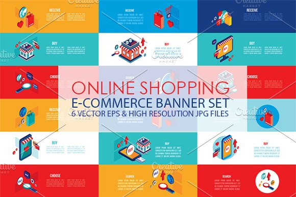 Online shopping isometric banner set illustrations for Design online shop
