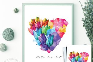 Prints Poster, Card -Flower Heart
