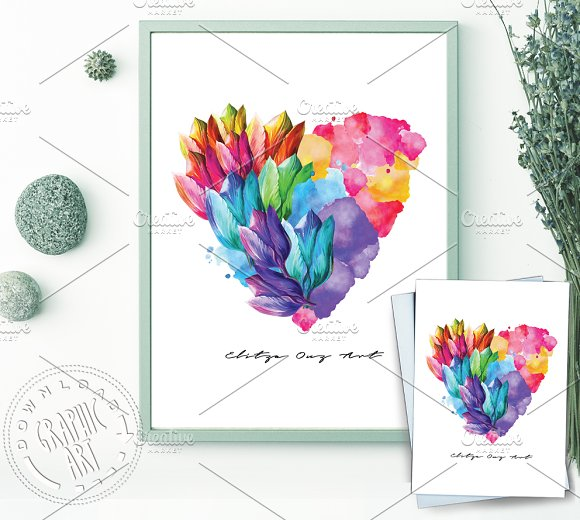 Prints Poster Card Flower Heart