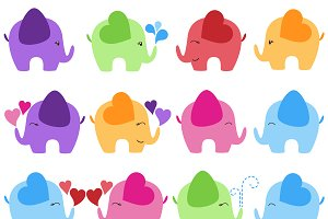 Elephants Vectors and Clipart