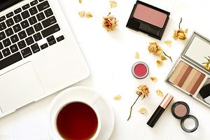 Make up products and cup of tea
