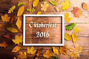 Oktoberfest 2016 sign in picture frame, colorful autumn leaves.