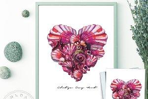 Seashell Heart Printable Wall Art