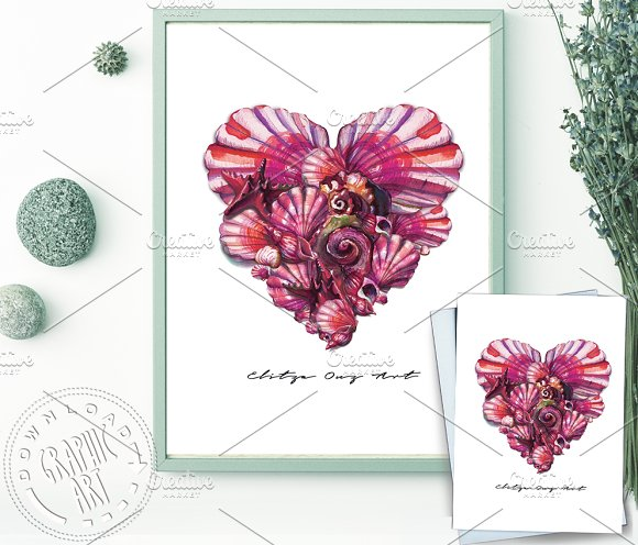 Seashell Heart Printable Wall Art