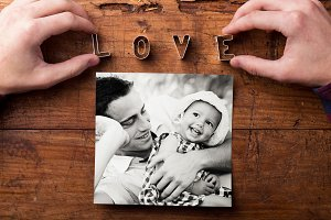 Fathers day composition. Black-and-white picture, studio shot.