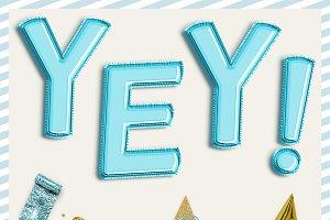 Aqua Blue Balloon PNG Letters