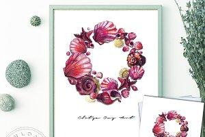 Seashell Wreath Printable Wall Art