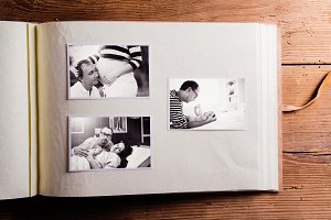Fathers day composition. Photo album, black-and-white pictures.