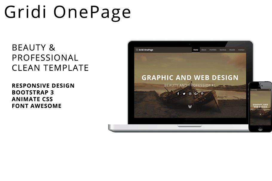 Gridi OnePage ~ HTML/CSS Themes ~ Creative Market