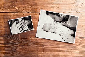Fathers day composition. Black-and-white pictures, studio shot.