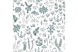 Vector modern floral seamless pattern with northern flora elements. Tundra, nordic design.