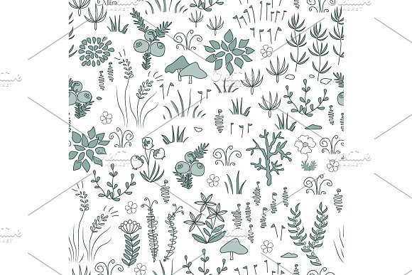 Vector Modern Floral Seamless Pattern With Northern Flora Elements Tundra Nordic Design