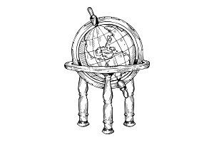 Vintage globe engraving vector illustration