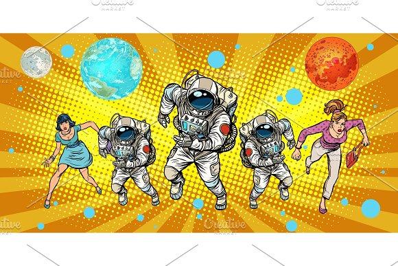 Women And Astronauts Running Around The Universe