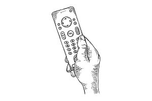 TV remote control engraving vector