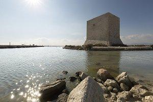 Tower of Tamarit backlit