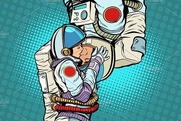 Kiss Love Couple Male And Female Astronauts