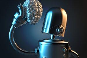 Robot holds a human brain