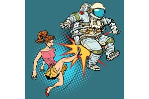 The woman kicks an astronaut family quarrel
