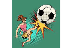 woman hits a soccer ball, football championship