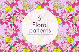 6 floral seamless patterns