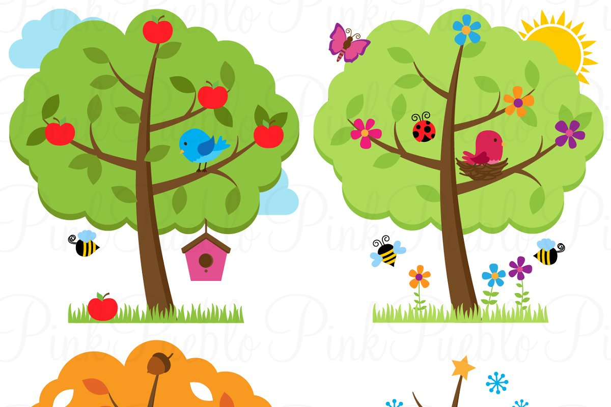 Four Seasons Trees Clipart Vectors Illustrations Creative Market