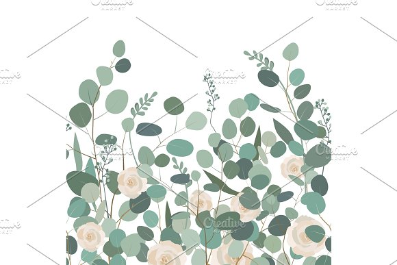 Horizontal Seamless Pattern With Eucalyptus Floral Ornament With Silver Dollar Eucalyptus Branches And Roses