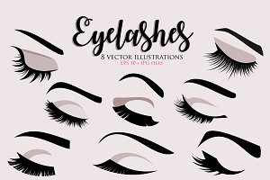 Eyelashes 8 vector illustrations