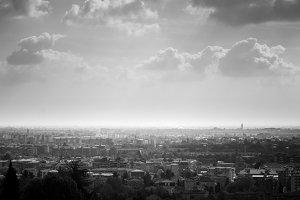 Smog rising above city