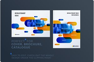 Creative minimal design of brochure set, abstract annual report, horizontal cover, flyer in A4 with colourful rounded rectangles