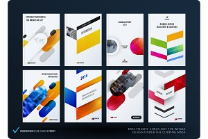 Creative design of business brochure set, abstract horizontal cover layout, flyer in A4 with colourful rounded rectangles for motion design