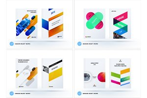 Business set of design brochure, abstract annual report, horizontal cover flyer