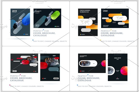 Business Set Of Design Brochure Abstract Annual Report Horizontal Cover Flyer