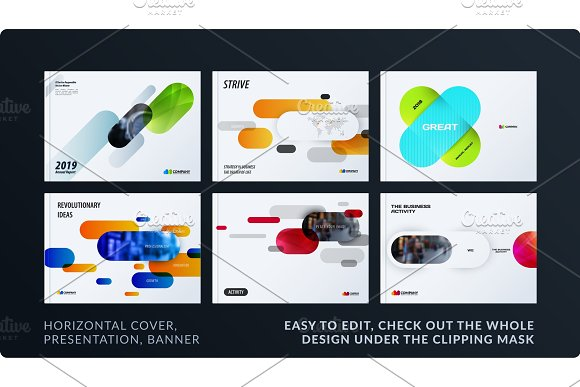 Presentation Abstract Vector Set Of Modern Horizontal Templates With Colourful Rounded Rectangles